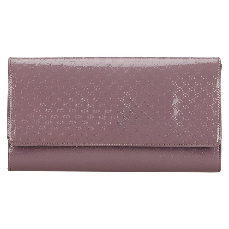 Vintage Authentic Gucci Purple Microguccissima Broadway Clutch Italy SMALL  For Sale