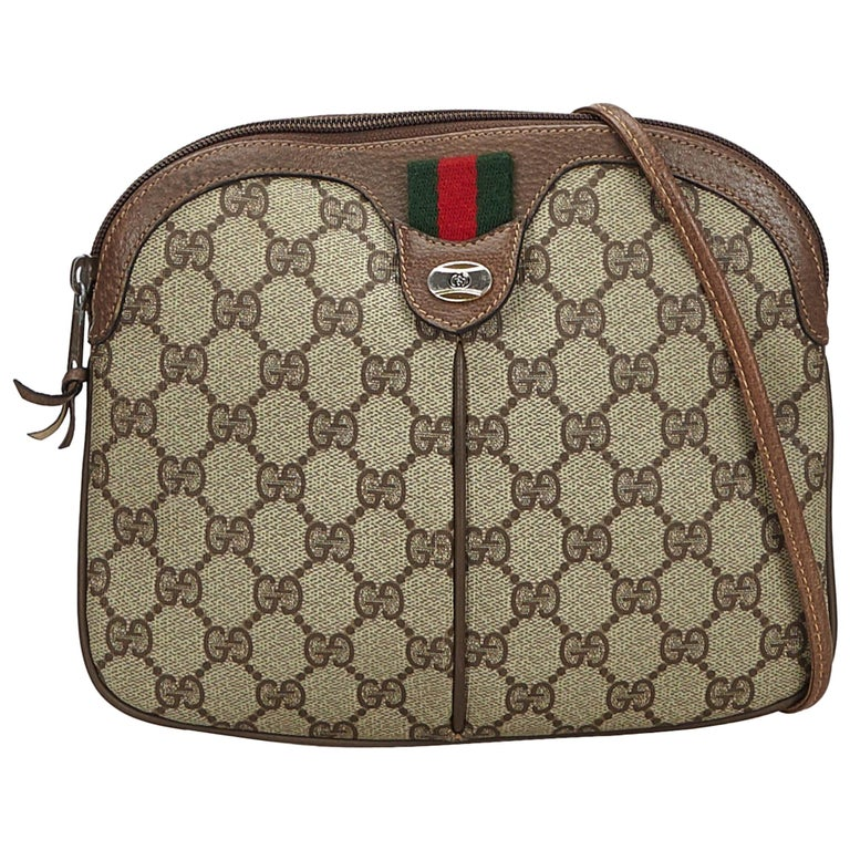 3e464b62d1664 Vintage Authentic Gucci PVC Plastic GG Supreme Web Crossbody Bag Italy SMALL