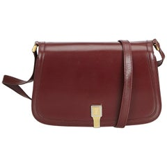 Vintage Authentic Gucci Red Bordeaux Leather Old Gucci Shoulder Bag Italy SMALL