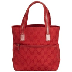Vintage Authentic Gucci Red Canvas Fabric Guccissima Tote Italy LARGE