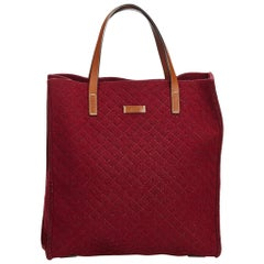 Vintage Authentic Gucci Red Fabric Diamante Felt Tote Bag Italy LARGE