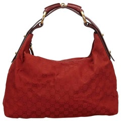 Vintage Authentic Gucci Red GG Horsebit Hobo Bag Italy w Dust Bag LARGE