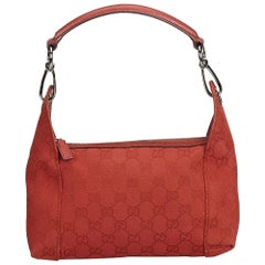 Vintage Authentic Gucci Red Guccissima Shoulder Bag Italy w Dust Bag SMALL