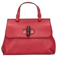 Vintage Authentic Gucci Red Leather Bamboo Daily Italy w/ Dust Bag MEDIUM