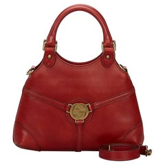 Vintage Authentic Gucci Red Leather Reins Hobo Bag ITALY w/ Dust Bag MEDIUM