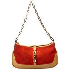 Vintage Authentic Gucci Red Light Chain Jackie Italy w Dust Bag MEDIUM