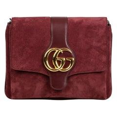 Vintage Authentic Gucci Red Suede Leather Medium Arli Crossbody Italy w MEDIUM