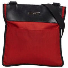 Vintage Authentic Gucci Red with Black Nylon Fabric Crossbody Bag Italy MEDIUM