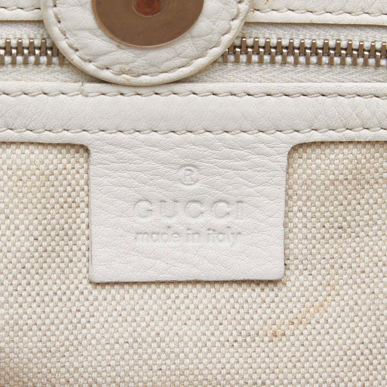 Vintage Authentic Gucci White Calf Leather Techno Tote Italy LARGE  2