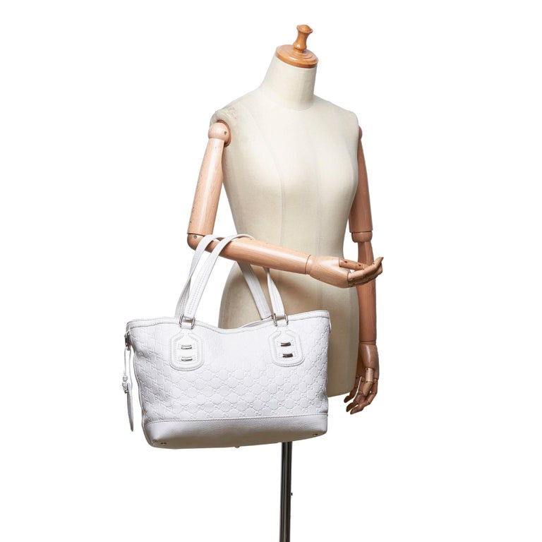Vintage Authentic Gucci White Calf Leather Techno Tote Italy LARGE  5
