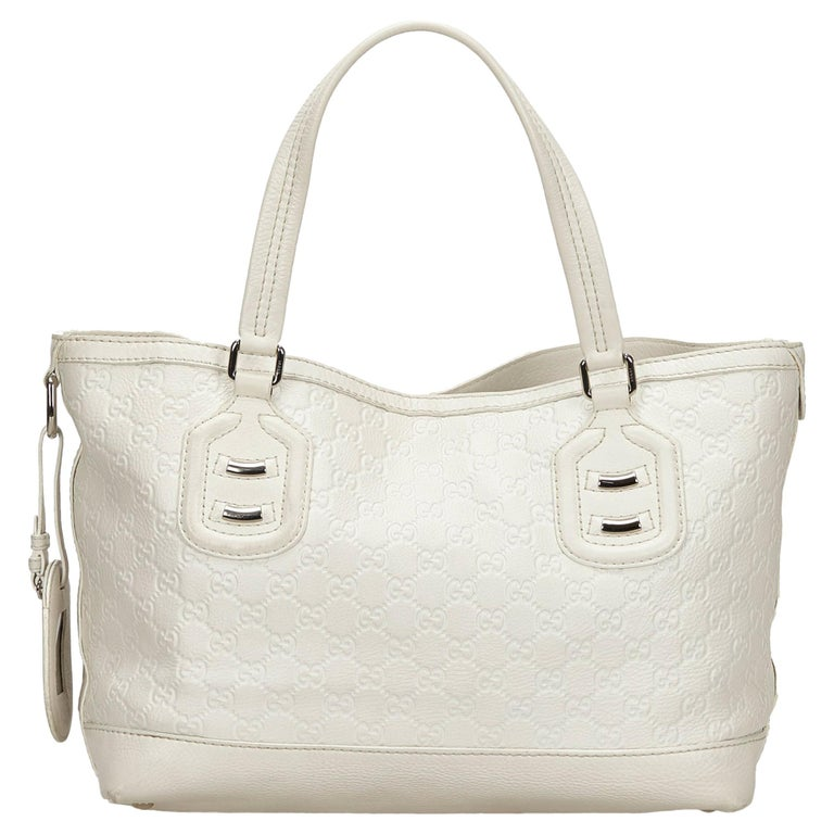 Vintage Authentic Gucci White Calf Leather Techno Tote Italy LARGE