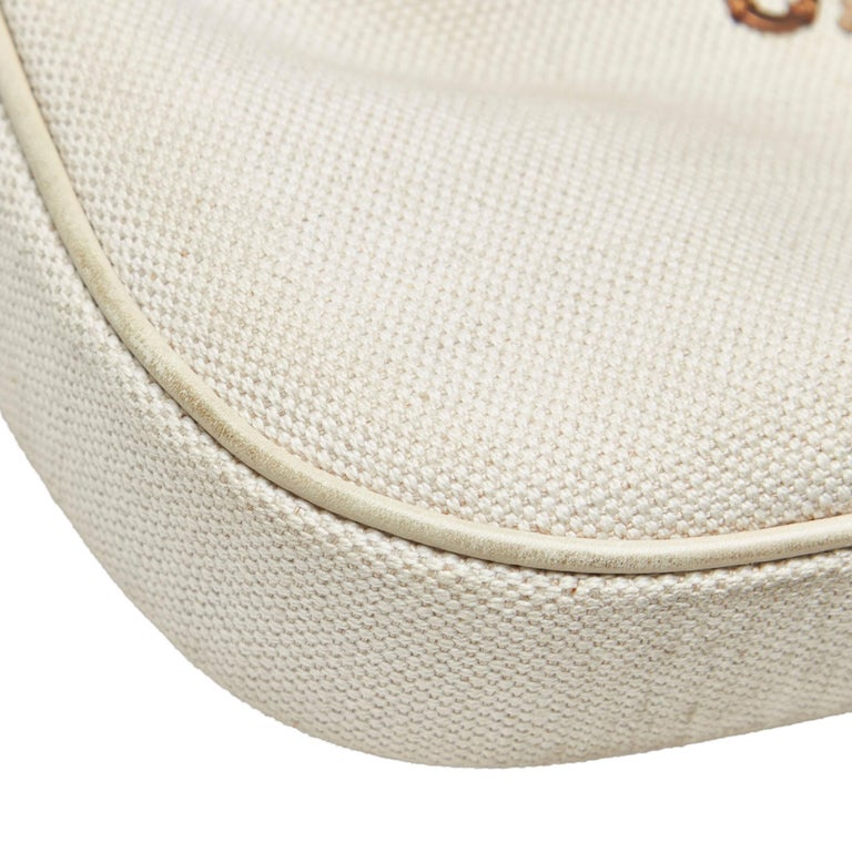 Vintage Authentic Gucci White Embroidered New Jackie Shoulder Bag Italy MEDIUM  7