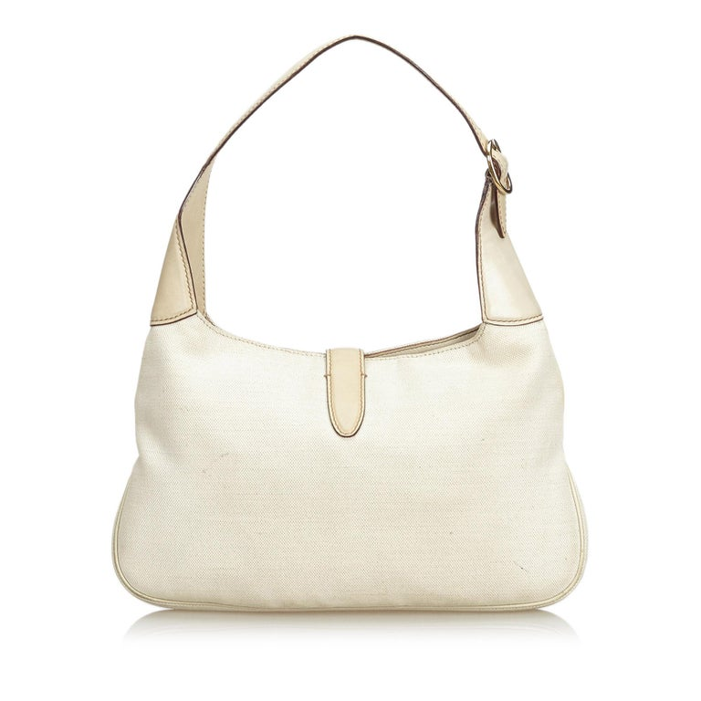 Vintage Authentic Gucci White Embroidered New Jackie Shoulder Bag Italy MEDIUM  In Good Condition In Orlando, FL