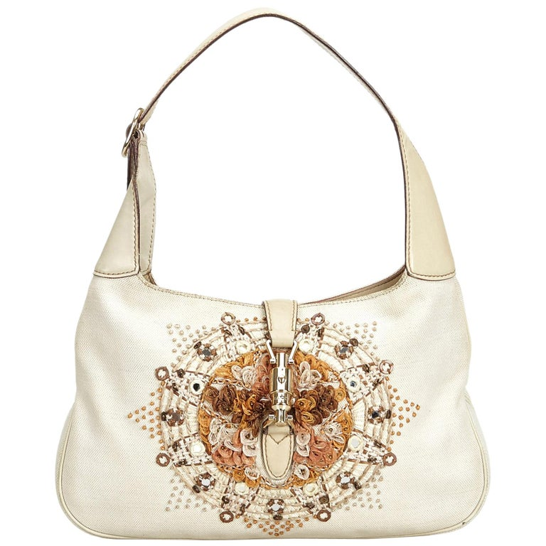 Vintage Authentic Gucci White Embroidered New Jackie Shoulder Bag Italy MEDIUM