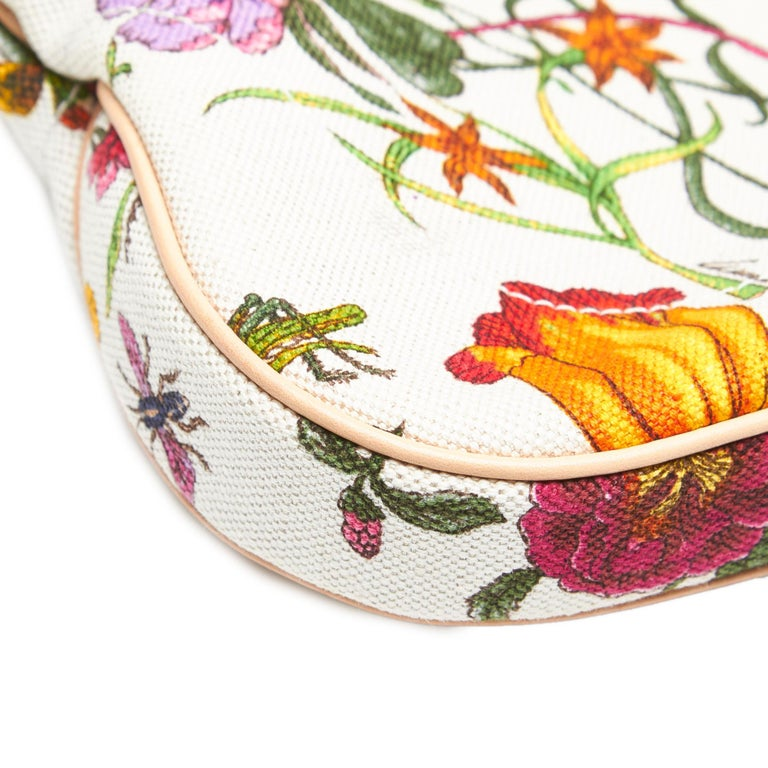 Vintage Authentic Gucci White Flora New Jackie Shoulder Bag Italy MEDIUM  For Sale 6