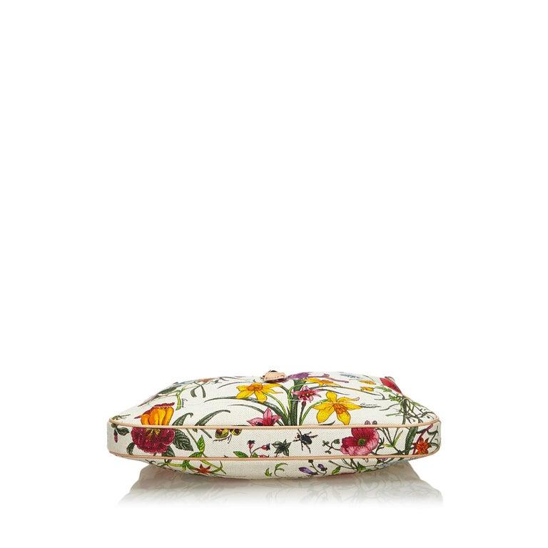 Women's Vintage Authentic Gucci White Flora New Jackie Shoulder Bag Italy MEDIUM  For Sale