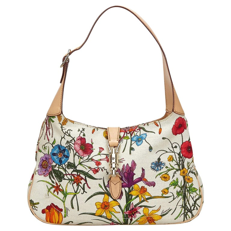 Vintage Authentic Gucci White Flora New Jackie Shoulder Bag Italy MEDIUM  For Sale