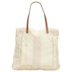 Vintage Authentic Gucci White Ivory Canvas Fabric Web Tote Bag Italy LARGE