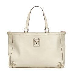 Vintage Authentic Gucci White Leather Abbey D-Ring Tote Italy LARGE