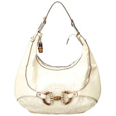 Vintage Authentic Gucci White Leather Horsebit Amalfi Hobo ITALY LARGE