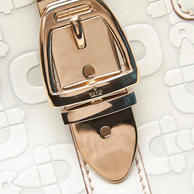 Vintage Authentic Gucci White Leather Horsebit Handbag Italy w Dust Bag MEDIUM  6