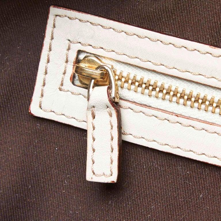 Vintage Authentic Gucci White Leather Horsebit Handbag Italy w Dust Bag MEDIUM  7