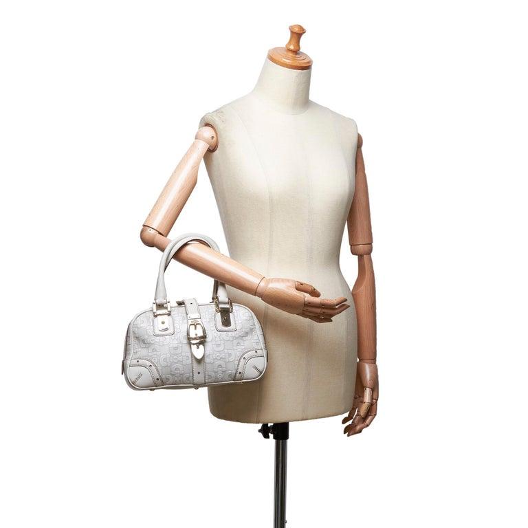Vintage Authentic Gucci White Leather Horsebit Handbag Italy w Dust Bag MEDIUM  8