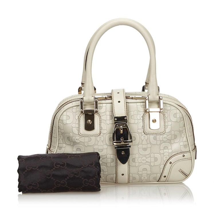 Vintage Authentic Gucci White Leather Horsebit Handbag Italy w Dust Bag MEDIUM  9