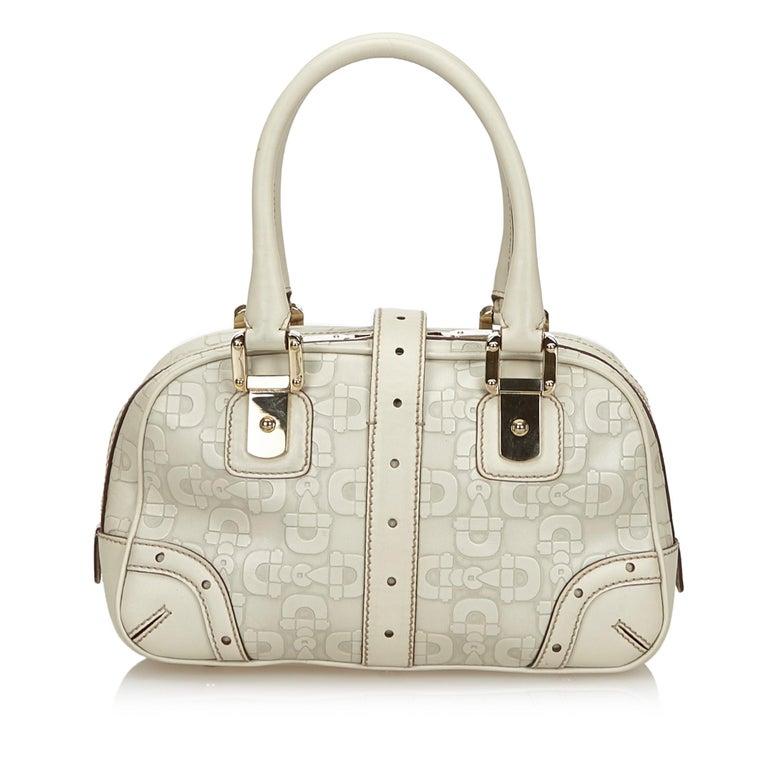 Vintage Authentic Gucci White Leather Horsebit Handbag Italy w Dust Bag MEDIUM  In Good Condition In Orlando, FL