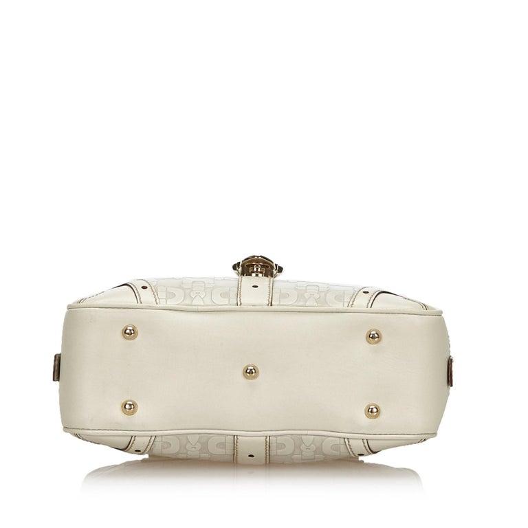 Women's Vintage Authentic Gucci White Leather Horsebit Handbag Italy w Dust Bag MEDIUM