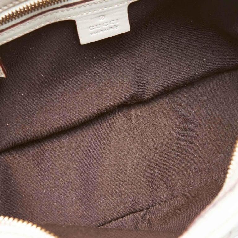 Vintage Authentic Gucci White Leather Horsebit Handbag Italy w Dust Bag MEDIUM  1