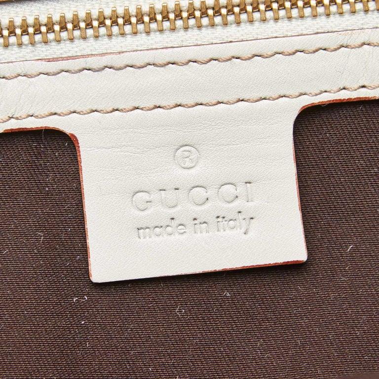 Vintage Authentic Gucci White Leather Horsebit Handbag Italy w Dust Bag MEDIUM  2