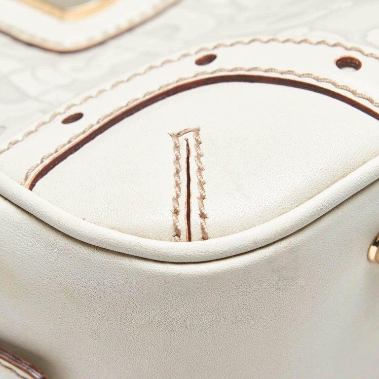 Vintage Authentic Gucci White Leather Horsebit Handbag Italy w Dust Bag MEDIUM  4