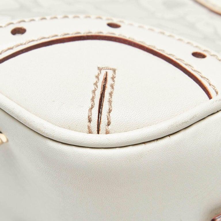 Vintage Authentic Gucci White Leather Horsebit Handbag Italy w Dust Bag MEDIUM  5