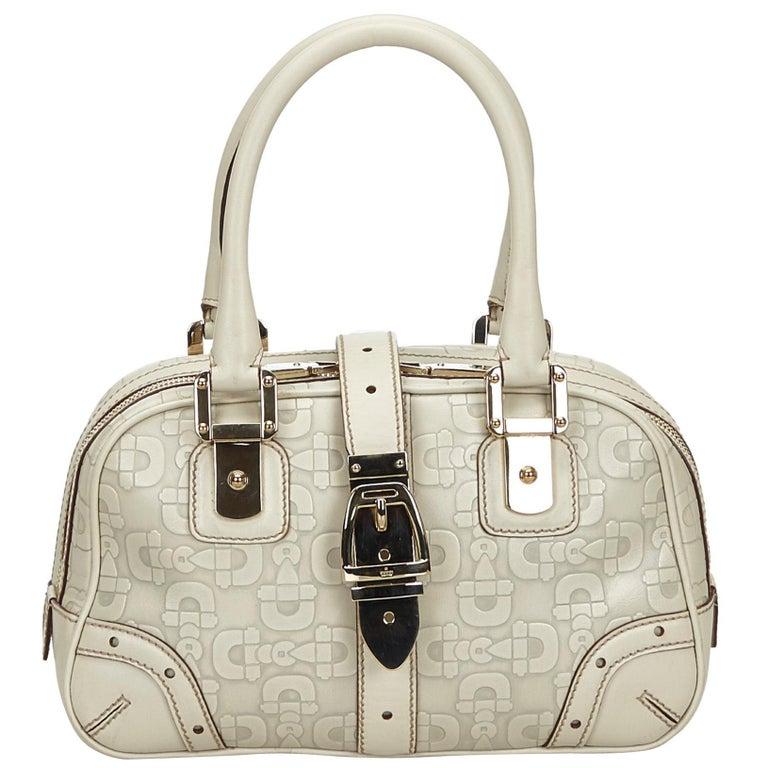 Vintage Authentic Gucci White Leather Horsebit Handbag Italy w Dust Bag MEDIUM