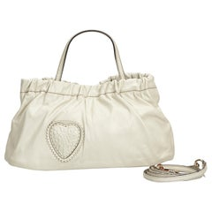 Vintage Authentic Gucci White Leather Hysteria Satchel Italy w Dust Bag MEDIUM