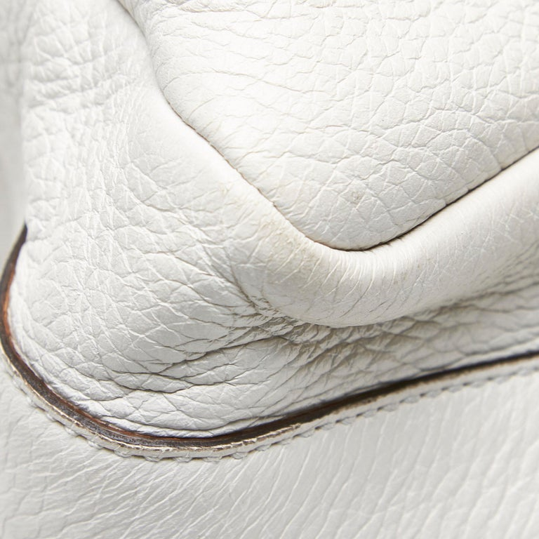 Vintage Authentic Gucci White Leather Jungle Shoulder Bag ITALY MEDIUM  7