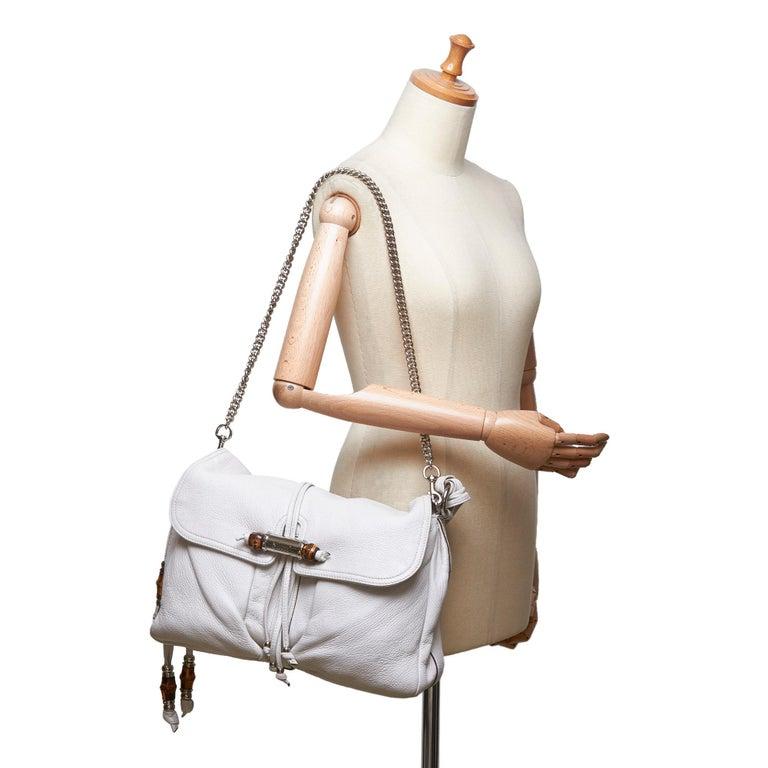 Vintage Authentic Gucci White Leather Jungle Shoulder Bag ITALY MEDIUM  9