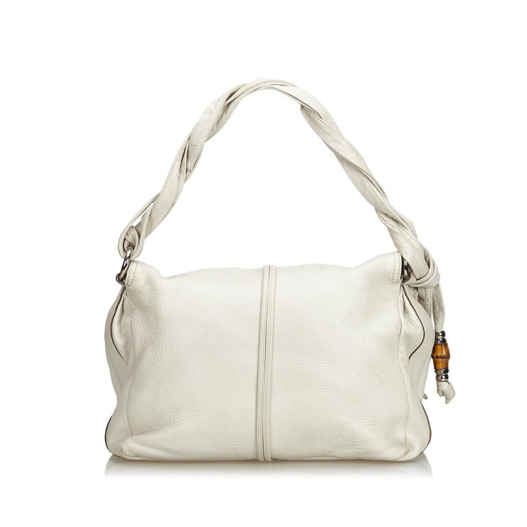 Vintage Authentic Gucci White Leather Jungle Shoulder Bag ITALY MEDIUM  In Good Condition In Orlando, FL