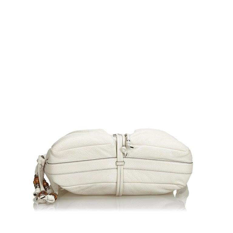 Women's Vintage Authentic Gucci White Leather Jungle Shoulder Bag ITALY MEDIUM