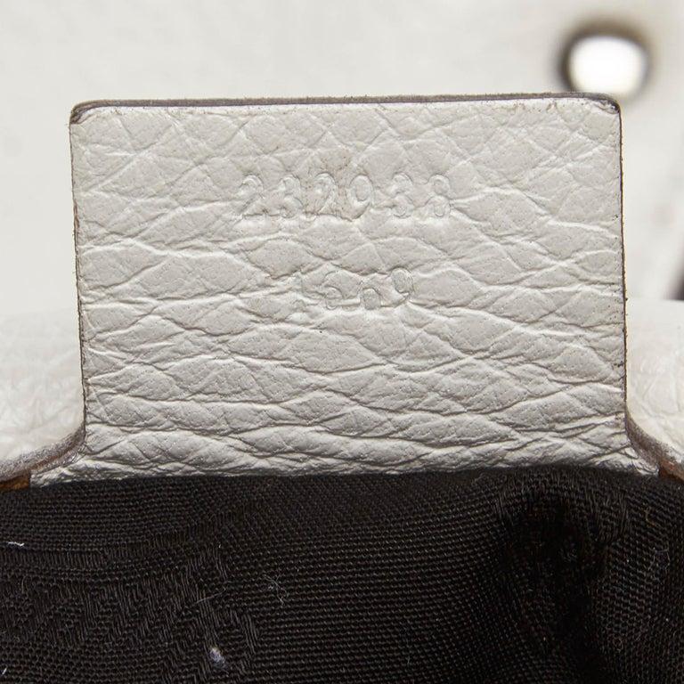 Vintage Authentic Gucci White Leather Jungle Shoulder Bag ITALY MEDIUM  3