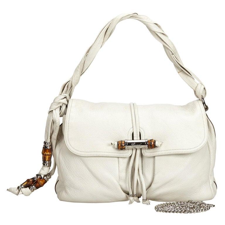 Vintage Authentic Gucci White Leather Jungle Shoulder Bag ITALY MEDIUM