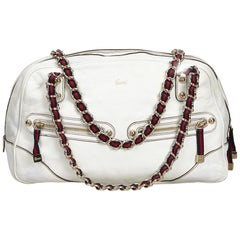 Vintage Authentic Gucci White Leather Princy Shoulder Bag Italy MEDIUM