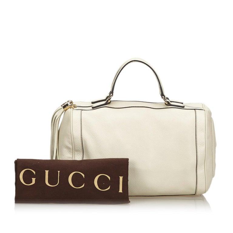 Vintage Authentic Gucci White Leather Soho Handbag Italy w Dust Bag MEDIUM  For Sale 6