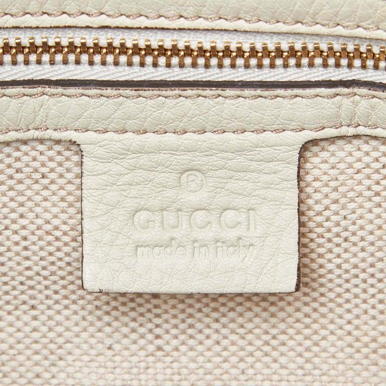 Vintage Authentic Gucci White Leather Soho Handbag Italy w Dust Bag MEDIUM  For Sale 2