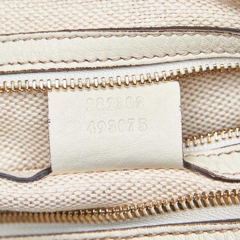 Vintage Authentic Gucci White Leather Soho Handbag Italy w Dust Bag MEDIUM  For Sale 3