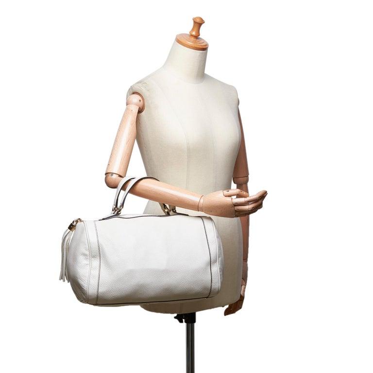 Vintage Authentic Gucci White Leather Soho Handbag Italy w Dust Bag MEDIUM  For Sale 5