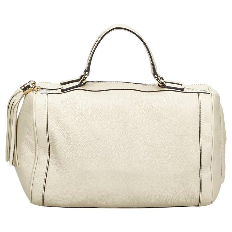 Vintage Authentic Gucci White Leather Soho Handbag Italy w Dust Bag MEDIUM  For Sale