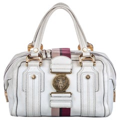 Vintage Authentic Gucci White with Multi Leather Aviatrix Handbag Italy MEDIUM
