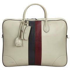 Vintage Authentic Gucci White with Multi Leather Web Briefcase Italy LARGE